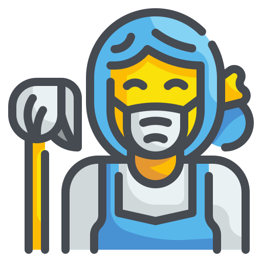 Woman with face mask and a mop